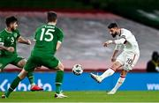 18 November 2020; DimitarIliev of Bulgaria has a shot at goal despite the efforts of Ryan Manning, left, and Kevin Long of Republic of Ireland during the UEFA Nations League B match between Republic of Ireland and Bulgaria at the Aviva Stadium in Dublin. Photo by Sam Barnes/Sportsfile