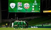 18 November 2020; The Ireland team huddle ahead of the UEFA Nations League B match between Republic of Ireland and Bulgaria at the Aviva Stadium in Dublin. Photo by Sam Barnes/Sportsfile