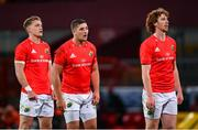 26 October 2020; Mike Haley, left, Dan Goggin, centre, and Ben Healy of Munster during the Guinness PRO14 match between Munster and Cardiff Blues at Thomond Park in Limerick. Photo by Ramsey Cardy/Sportsfile