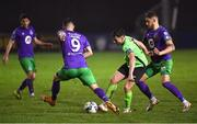 20 November 2020; Mark Russell of Finn Harps in action against Aaron Greene, left, and Lee Grace of Shamrock Rovers during the Extra.ie FAI Cup Quarter-Final match between Finn Harps and Shamrock Rovers at Finn Park in Ballybofey, Donegal. Photo by Seb Daly/Sportsfile