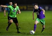 20 November 2020; Jack Byrne of Shamrock Rovers in action against Gareth Harkin of Finn Harps during the Extra.ie FAI Cup Quarter-Final match between Finn Harps and Shamrock Rovers at Finn Park in Ballybofey, Donegal. Photo by Seb Daly/Sportsfile