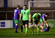 20 November 2020; Leo Donnellan, left, and Sam Todd of Finn Harps following their side's defeat in the Extra.ie FAI Cup Quarter-Final match between Finn Harps and Shamrock Rovers at Finn Park in Ballybofey, Donegal. Photo by Seb Daly/Sportsfile