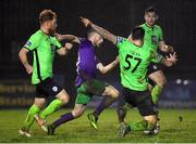 20 November 2020; Jack Byrne of Shamrock Rovers in action against Ryan Connolly, left, and Stephen Folan of Finn Harps during the Extra.ie FAI Cup Quarter-Final match between Finn Harps and Shamrock Rovers at Finn Park in Ballybofey, Donegal. Photo by Seb Daly/Sportsfile