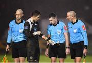 20 November 2020; Mark McGinley of Finn Harps remonstrates with referee Robert Hennessy, centre, following the Extra.ie FAI Cup Quarter-Final match between Finn Harps and Shamrock Rovers at Finn Park in Ballybofey, Donegal. Photo by Seb Daly/Sportsfile
