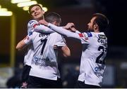 20 November 2020; Michael Duffy of Dundalk celebrates after scoring his side's first goal with team-mates Sean Gannon, left, and Stefan Colovic during the Extra.ie FAI Cup Quarter-Final match between Bohemians and Dundalk at Dalymount Park in Dublin. Photo by Ben McShane/Sportsfile