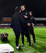 20 November 2020; Bohemians goalkeeper coach Chris Bennion confronts Dundalk assistant coach Giuseppe Rossi following the Extra.ie FAI Cup Quarter-Final match between Bohemians and Dundalk at Dalymount Park in Dublin. Photo by Stephen McCarthy/Sportsfile