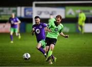20 November 2020; Ryan Connolly of Finn Harps in action against Jack Byrne of Shamrock Rovers during the Extra.ie FAI Cup Quarter-Final match between Finn Harps and Shamrock Rovers at Finn Park in Ballybofey, Donegal. Photo by Seb Daly/Sportsfile