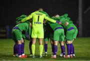 20 November 2020; Shamrock Rovers players during a huddle prior to the Extra.ie FAI Cup Quarter-Final match between Finn Harps and Shamrock Rovers at Finn Park in Ballybofey, Donegal. Photo by Seb Daly/Sportsfile