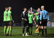 20 November 2020; Finn Harps players, including goalkeeper Mark McGinley, remonstrate with referee Robert Hennessy and assistant Allen Lynch during the Extra.ie FAI Cup Quarter-Final match between Finn Harps and Shamrock Rovers at Finn Park in Ballybofey, Donegal. Photo by Seb Daly/Sportsfile