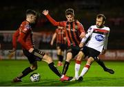 20 November 2020; Stefan Colovic of Dundalk in action against Dawson Devoy, left, and Paddy Kirk of Bohemians during the Extra.ie FAI Cup Quarter-Final match between Bohemians and Dundalk at Dalymount Park in Dublin. Photo by Stephen McCarthy/Sportsfile