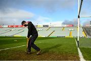 21 November 2020; Groundsman Daniel Owens tends to the goalmouth prior to the GAA Hurling All-Ireland Senior Championship Quarter-Final match between Galway and Tipperary at LIT Gaelic Grounds in Limerick. Photo by David Fitzgerald/Sportsfile