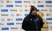 20 November 2020; Dundalk interim head coach Filippo Giovagnoli speaking to RTÉ prior to the Extra.ie FAI Cup Quarter-Final match between Bohemians and Dundalk at Dalymount Park in Dublin. Photo by Stephen McCarthy/Sportsfile