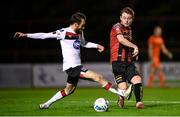 20 November 2020; Conor Levingston of Bohemians in action against Stefan Colovic of Dundalk during the Extra.ie FAI Cup Quarter-Final match between Bohemians and Dundalk at Dalymount Park in Dublin. Photo by Stephen McCarthy/Sportsfile