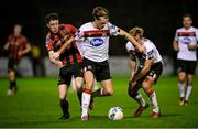 20 November 2020; Daniel Cleary of Dundalk in action against Jack Moylan of Bohemians during the Extra.ie FAI Cup Quarter-Final match between Bohemians and Dundalk at Dalymount Park in Dublin. Photo by Stephen McCarthy/Sportsfile
