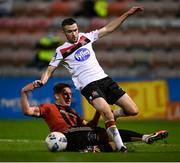 20 November 2020; Michael Duffy of Dundalk in action against Rob Cornwall of Bohemians during the Extra.ie FAI Cup Quarter-Final match between Bohemians and Dundalk at Dalymount Park in Dublin. Photo by Stephen McCarthy/Sportsfile