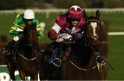 21 November 2020; Notebook, with Rachael Blackmore up, on their way to winning the Poplar Square Steeplechase from second place Fakir D'oudairies, with Mark Walsh up, at Naas Racecourse in Kildare. Photo by Matt Browne/Sportsfile