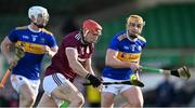 21 November 2020; Conor Whelan of Galway gets past Ronan Maher, right, and Michael Breen of Tipperary during the GAA Hurling All-Ireland Senior Championship Quarter-Final match between Galway and Tipperary at LIT Gaelic Grounds in Limerick. Photo by Piaras Ó Mídheach/Sportsfile