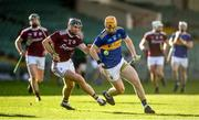 21 November 2020; Jake Morris of Tipperary in action against Aidan Harte of Galway during the GAA Hurling All-Ireland Senior Championship Quarter-Final match between Galway and Tipperary at LIT Gaelic Grounds in Limerick. Photo by David Fitzgerald/Sportsfile