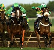 21 November 2020; Barnaviddaun, left, with David Mullins up, on their way to winning the Brown Lad Handicap Hurdle from second place Damalisque, with Simon Torrens up, at Naas Racecourse in Kildare. Photo by Matt Browne/Sportsfile