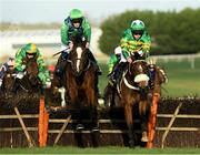 21 November 2020; Barnaviddaun, left, with David Mullins up, jump the last on their way to winning the Brown Lad Handicap Hurdle from second place Damalisque, with Simon Torrens up, at Naas Racecourse in Kildare. Photo by Matt Browne/Sportsfile