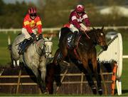 21 November 2020; Vanillier, left, with Jonathan Moore up, jump the last with eventual second place Fantasio D'alene, with Jack Kennedy up, on their way to winning the Irish Stallion Owners EBF Maiden Hurdle at Naas Racecourse in Kildare. Photo by Matt Browne/Sportsfile