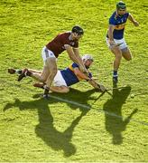 21 November 2020; Joseph Cooney of Galway in action against Patrick Maher of Tipperary during the GAA Hurling All-Ireland Senior Championship Quarter-Final match between Galway and Tipperary at LIT Gaelic Grounds in Limerick. Photo by David Fitzgerald/Sportsfile