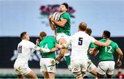 21 November 2020; Hugo Keenan of Ireland in action against Jonny May, left, and Joe Launchbury of England during the Autumn Nations Cup match between England and Ireland at Twickenham Stadium in London, England. Photo by Matt Impey/Sportsfile