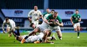 21 November 2020; Keith Earls of Ireland is tackled by Elliot Daly and Ben Youngs of England during the Autumn Nations Cup match between England and Ireland at Twickenham Stadium in London, England. Photo by Matt Impey/Sportsfile