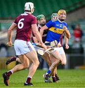 21 November 2020; Séamus Callanan of Tipperary is tackled by Adrian Tuohey of Galway during the GAA Hurling All-Ireland Senior Championship Quarter-Final match between Galway and Tipperary at LIT Gaelic Grounds in Limerick. Photo by Piaras Ó Mídheach/Sportsfile