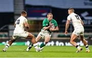 21 November 2020; Keith Earls of Ireland in action against Ollie Lawrence and Henry Slade of England during the Autumn Nations Cup match between England and Ireland at Twickenham Stadium in London, England. Photo by Matt Impey/Sportsfile
