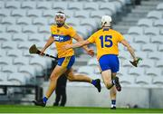 21 November 2020; Aron Shanagher of Clare, left, celebrates with team-mate Ryan Taylor after scoring his side's second goal during the GAA Hurling All-Ireland Senior Championship Quarter-Final match between Clare and Waterford at Pairc Uí Chaoimh in Cork. Photo by Eóin Noonan/Sportsfile
