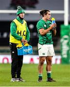21 November 2020; Jonathan Sexton of Ireland acting as water carrier alongside James Lowe during the Autumn Nations Cup match between England and Ireland at Twickenham Stadium in London, England. Photo by Matt Impey/Sportsfile