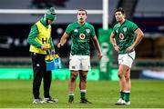 21 November 2020; Jonathan Sexton of Ireland acting as water carrier alongside James Lowe and Ross Byrne, right, during the Autumn Nations Cup match between England and Ireland at Twickenham Stadium in London, England. Photo by Matt Impey/Sportsfile