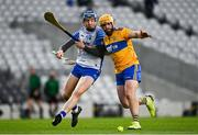 21 November 2020; Kieran Bennett of Waterford in action against Jason McCarthy of Clare during the GAA Hurling All-Ireland Senior Championship Quarter-Final match between Clare and Waterford at Pairc Uí Chaoimh in Cork. Photo by Harry Murphy/Sportsfile
