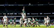 21 November 2020; Peter O'Mahony of Ireland wins possession in the line-out ahead of Joe Launchbury of England during the Autumn Nations Cup match between England and Ireland at Twickenham Stadium in London, England. Photo by Matt Impey/Sportsfile
