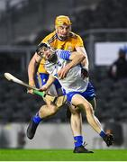 21 November 2020; Jamie Barron of Waterford in action against David Fitzgerald of Clare during the GAA Hurling All-Ireland Senior Championship Quarter-Final match between Clare and Waterford at Pairc Uí Chaoimh in Cork. Photo by Eóin Noonan/Sportsfile
