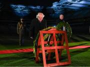 21 November 2020; President Michael D Higgins and Uachtarán Chumann Lúthchleas Gael John Horan, right, during the GAA Bloody Sunday Commemoration at Croke Park in Dublin. On this day 100 years ago, Sunday 21 November 1920, an attack by Crown Forces on the attendees at a challenge Gaelic Football match between Dublin and Tipperary during the Irish War of Independence resulted in 14 people being murdered. Along with the 13 supporters that lost their lives that day a Tipperary footballer, Michael Hogan, also died. The main stand in Croke Park, the Hogan Stand, was subsequently named after him. Photo by Stephen McCarthy/Sportsfile