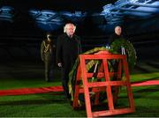 21 November 2020; President Michael D Higgins, left, and Uachtarán Chumann Lúthchleas Gael John Horan during the GAA Bloody Sunday Commemoration at Croke Park in Dublin. On this day 100 years ago, Sunday 21 November 1920, an attack by Crown Forces on the attendees at a challenge Gaelic Football match between Dublin and Tipperary during the Irish War of Independence resulted in 14 people being murdered. Along with the 13 supporters that lost their lives that day a Tipperary footballer, Michael Hogan, also died. The main stand in Croke Park, the Hogan Stand, was subsequently named after him. Photo by Stephen McCarthy/Sportsfile
