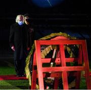 21 November 2020; President Michael D Higgins after placing a wreath during the GAA Bloody Sunday Commemoration at Croke Park in Dublin. On this day 100 years ago, Sunday 21 November 1920, an attack by Crown Forces on the attendees at a challenge Gaelic Football match between Dublin and Tipperary during the Irish War of Independence resulted in 14 people being murdered. Along with the 13 supporters that lost their lives that day a Tipperary footballer, Michael Hogan, also died. The main stand in Croke Park, the Hogan Stand, was subsequently named after him. Photo by Stephen McCarthy/Sportsfile