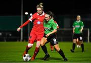 21 November 2020; Jess Gleeson of Shelbourne in action against Alannah McEvoy of Peamount United during the Women's National League match between Peamount United and Shelbourne at PRL Park in Greenogue, Dublin. Photo by Seb Daly/Sportsfile