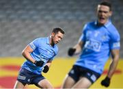21 November 2020; Dean Rock of Dublin celebrates after scoring his side's first goal alongside team-mate Brian Fenton, right, during the Leinster GAA Football Senior Championship Final match between Dublin and Meath at Croke Park in Dublin. Photo by Stephen McCarthy/Sportsfile