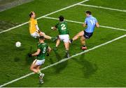 21 November 2020; Dean Rock of Dublin scores his side's first goal past Mark Brennan of Meath during the Leinster GAA Football Senior Championship Final match between Dublin and Meath at Croke Park in Dublin. Photo by Daire Brennan/Sportsfile