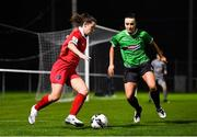 21 November 2020; Emily Whelan of Shelbourne in action against Niamh Farrelly of Peamount United during the Women's National League match between Peamount United and Shelbourne at PRL Park in Greenogue, Dublin. Photo by Seb Daly/Sportsfile