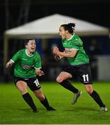 21 November 2020; Áine O'Gorman of Peamount United, right, celebrates with team-mate Eleanor Ryan-Doyle after scoring her side's first goal during the Women's National League match between Peamount United and Shelbourne at PRL Park in Greenogue, Dublin. Photo by Seb Daly/Sportsfile