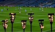 21 November 2020; Torches remembering the 14 people who died in Croke Park on Bloody Sunday on 21 November 1920 are seen on Hill 16 as the Leinster GAA Football Senior Championship Final match between Dublin and Meath takes place at Croke Park in Dublin. On this day 100 years ago, Sunday 21 November 1920, an attack by Crown Forces on the attendees at a challenge Gaelic Football match between Dublin and Tipperary during the Irish War of Independence resulted in 14 people being murdered. Along with the 13 supporters that lost their lives that day a Tipperary footballer, Michael Hogan, also died. The main stand in Croke Park, the Hogan Stand, was subsequently named after him. Photo by Brendan Moran/Sportsfile