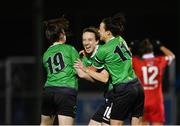 21 November 2020; Karen Duggan of Peamount United, centre, celebrates with team-mates Sadhbh Doyle, left, and Áine O'Gorman, right, after scoring her side's second goal during the Women's National League match between Peamount United and Shelbourne at PRL Park in Greenogue, Dublin. Photo by Seb Daly/Sportsfile