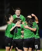 21 November 2020; Karen Duggan of Peamount United, centre, celebrates with team-mates after scoring her side's second goal during the Women's National League match between Peamount United and Shelbourne at PRL Park in Greenogue, Dublin. Photo by Seb Daly/Sportsfile