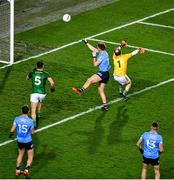21 November 2020; Seán Bugler of Dublin scores his side's second goal past Mark Brennan of Meath during the Leinster GAA Football Senior Championship Final match between Dublin and Meath at Croke Park in Dublin. Photo by Daire Brennan/Sportsfile
