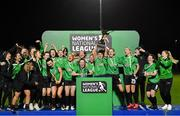 21 November 2020; Peamount United captain Áine O'Gorman and team-mates celebrate winning the Women's National League following their victory over Shelbourne at PRL Park in Greenogue, Dublin. Photo by Seb Daly/Sportsfile