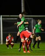 21 November 2020; Peamount United captain Áine O'Gorman and Eleanor Ryan-Doyle celebrate at the final whistle following their side's victory over Shelbourne in their Women's National League at PRL Park in Greenogue, Dublin. Photo by Seb Daly/Sportsfile